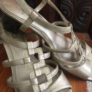 """Life Stride Sandals; 2""""heel; Gold overall color"""